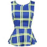 Checkered box print peplum