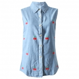 Cherry Embrioded Denim Shirt