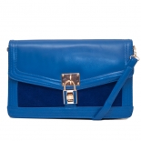                               Contrast suede lock clutch